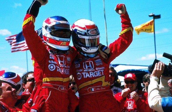 Alex Zanardi (ITA) right, and teammate Jimmy Vasser (USA) celebrate a one-two finish for Target Chip Ganassi Racing. CART Fedex World Series, Nazareth, USA. 27 April 1998.