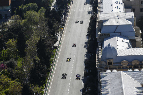 Daniil Kvyat, Toro Rosso STR14, leads Kevin Magnussen, Haas VF-19, Nico Hulkenberg, Renault R.S. 19, and Antonio Giovinazzi, Alfa Romeo Racing C38