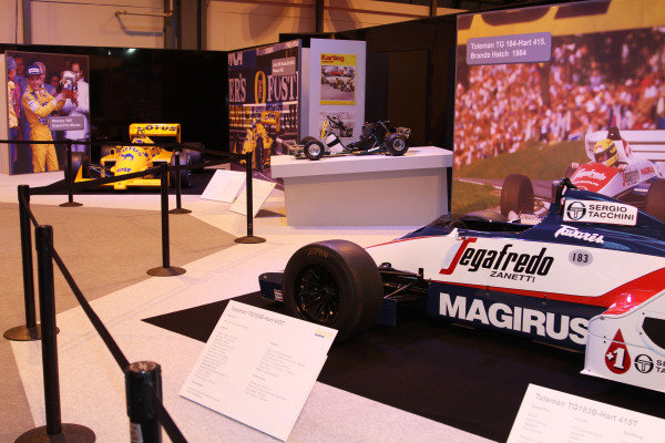 NEC, Birmingham. 12th - 15th January 2012. Ayrton Senna tribute. 1984 Toleman, kart and 1987 Lotus. World Copyright: Kevin Wood/LAT Photographic ref: Digital Image IMG_9563a