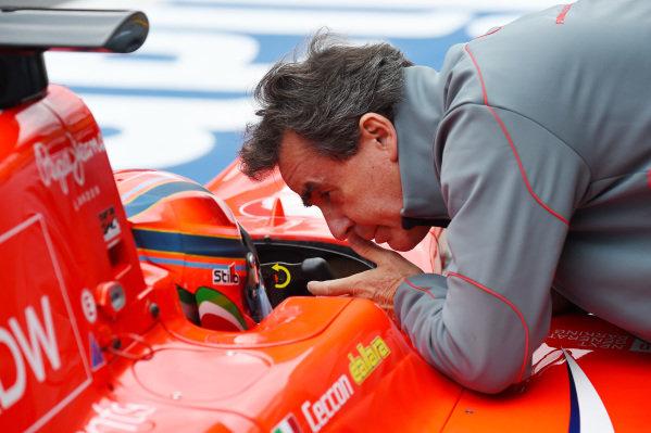 Dr Riccardo Ceccarelli (ITA) talks with Kevin Ceccon (ITA) Arden GP3 Motorsport at GP3 Series, Rd2, Spielberg, Austria, 19-21 June 2015.