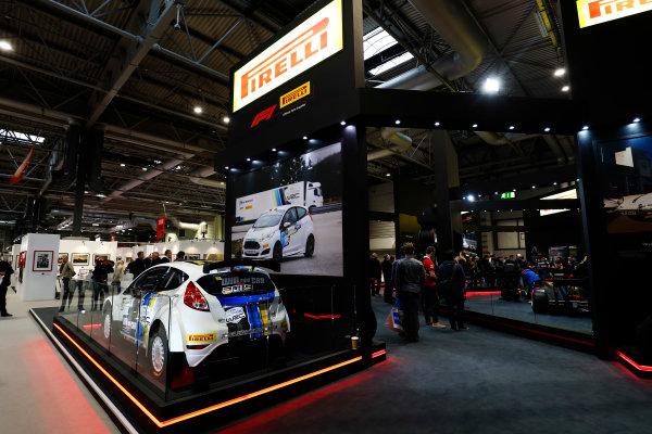 Autosport International Exhibition. National Exhibition Centre, Birmingham, UK. Sunday 14th January 2018. The Pirelli stand.World Copyright: Ashleigh Hartwell/LAT Images Ref: _O3I9587