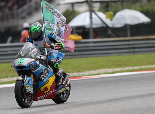 2017 Moto2 Championship - Round 17 Sepang, Malaysia. Sunday 29 October 2017 Third place and champion Franco Morbidelli, Marc VDS World Copyright: Gold and Goose / LAT Images ref: Digital Image 26775