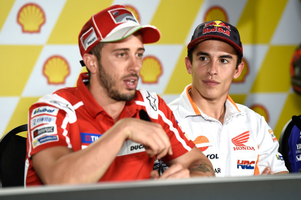 2017 MotoGP Championship - Round 17 Sepang, Malaysia. Thursday 26 October 2017 Marc Marquez, Repsol Honda Team, Andrea Dovizioso, Ducati Team World Copyright: Gold and Goose / LAT Images ref: Digital Image 701411