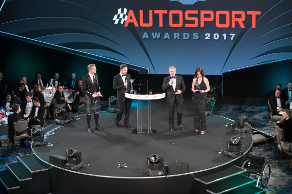 2017 Autosport Awards Grosvenor House Hotel, Park Lane, London. Sunday 3 December 2017. Christian Horner and Martin Brundle on stage with Presenters Lee McKenzie and David Coulthard. World Copyright: Joe Portlock/LAT Images  ref: Digital Image _R3I5762