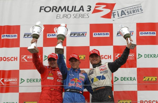 2003 Formula Three EuroseriesNurburgring, Germany. 16th - 17th August 2003.Race 2 podium, Christian Klien (Mucke Motorsport) 1st, Markus Winkelhock 2nd and Nico Rosberg (Team Rosberg) 3rd.World Copyright: Andre Irlmeier/LAT Photographicref: Digital Image Only