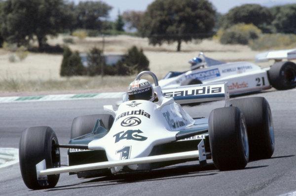 1981 Spanish Grand PrixJarama, Spain. 19th - 21st June.Alan Jones (Williams FW07 Ford). 7th Place. Action.World Copyright: LAT Photographic.ref: 81 ESP 07