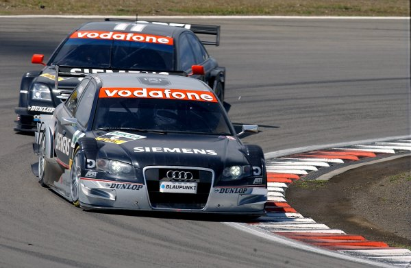 2005 DTM Championship Nurburgring, Germany. 6th - 7th August 2005Allan McNish (Abt Audi A4) leads Laurent Aiello (Opel Vectra GTS V8). Action.World Copyright: Andre Irlmeier / LAT Photographic ref: Digital Image Only