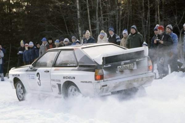 1983 World Rally Championship.Swedish Rally, Sweden. 11-13 February 1983.Hannu Mikkola/Arne Hertz (Audi Quattro A1), 1st position.World Copyright: LAT PhotographicRef: 35mm transparency 83RALLY02