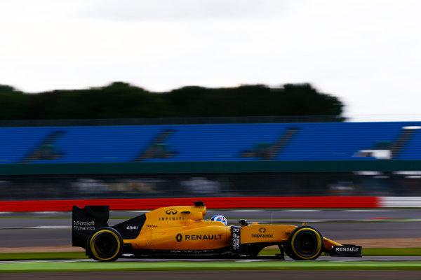 Silverstone, Northamptonshire, UK. Wednesday 13 July 2016. Jolyon Palmer, Renault RE16.  World Copyright: Zak Mauger/LAT Photographic ref: Digital Image _L0U8441