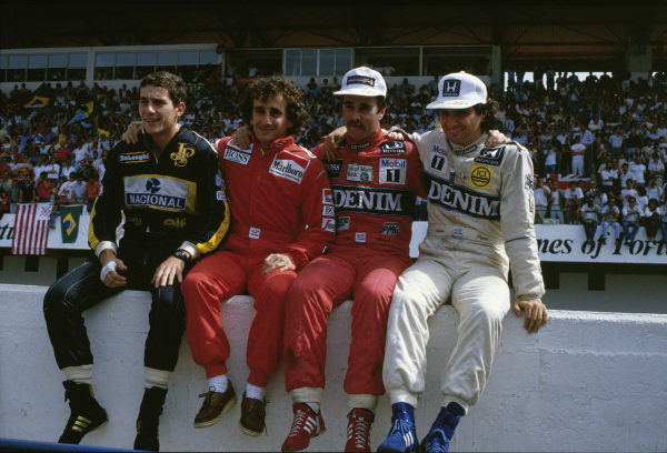 Estoril, Portugal.19-21 September 1986.(L-R) Championship contenders Ayrton Senna (Team Lotus), Alain Prost (McLaren TAG Porsche), Nigel Mansell and Nelson Piquet (both Williams Honda).Ref-86 POR 11.World Copyright - LAT Photographic