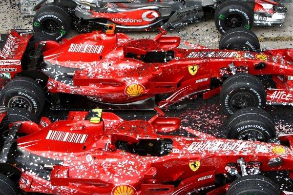 The cars of Felipe Massa (BRA) Ferrari F2007 and Kimi Raikkonen (FIN) Ferrari F2007 in Parc ferme Formula One World Championship, Rd17, Brazilian Grand Prix, Race Day, Interlagos, Sao Paulo, Brazil, Sunday 21 October 2007.  BEST IMAGE