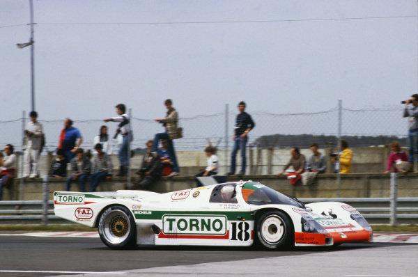 Le Mans, France. 31st May - 1st June 1986.Massimo Sigala/Frank Jelinski/Walter Brun (Porsche 962C), retired, action. World Copyright: LAT Photographic.Ref: 86LM07.