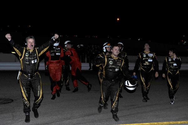 17-20 October, 2012, Braselton, Georgia USA Rebellion Racing crew celebrate the win.(  LAT Photo USA