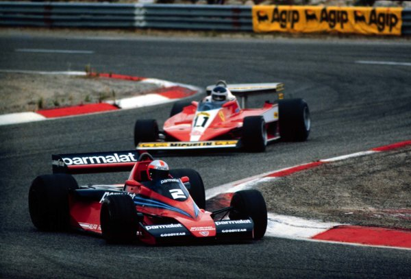 1978 French Grand Prix.Paul Ricard, Le Catellet, France.30/6-2/7 1978.John Watson (Brabham BT46-Alfa Romeo) leads Carlos Reutemann (Ferrari 312T3). They finished in 4th and 18th positions respectively.World Copyright - LAT Photographic