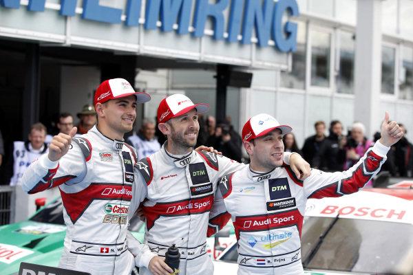 Race winner René Rast, Audi Sport Team Rosberg with Nico Müller, Audi Sport Team Abt Sportsline and Robin Frijns, Audi Sport Team Abt Sportsline.