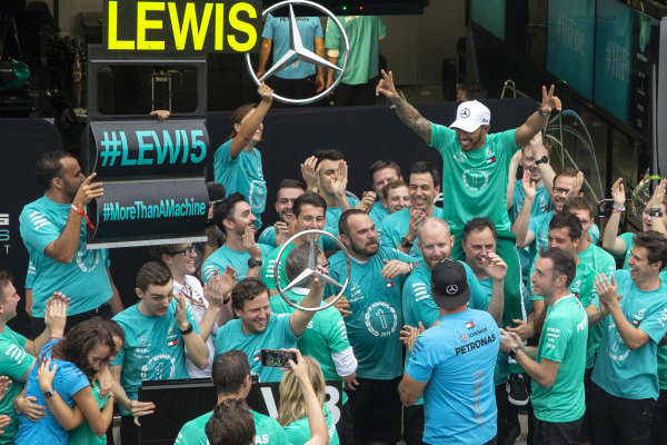 Lewis Hamilton, Mercedes AMG F1 celebrates with Mercedes-AMG F1 clinching the Constructors Championship