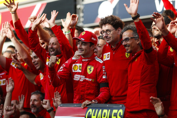 Charles Leclerc, Ferrari, celebrates victory with Mattia Binotto, Team Principal Ferrari, Laurent Mekies, Sporting Director, Ferrari and other colleagues