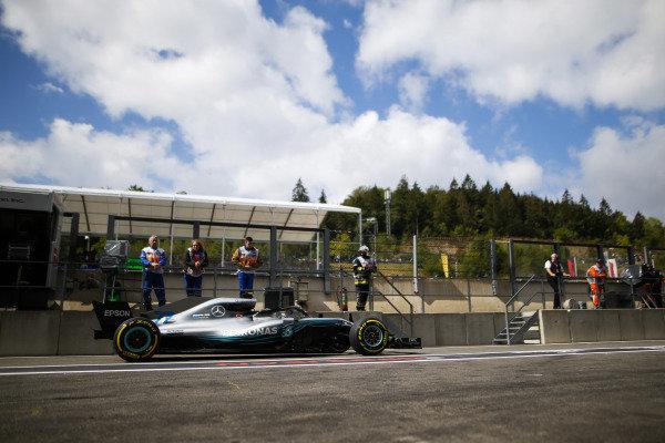 Valtteri Bottas, Mercedes AMG F1 W09, in the pit lane.