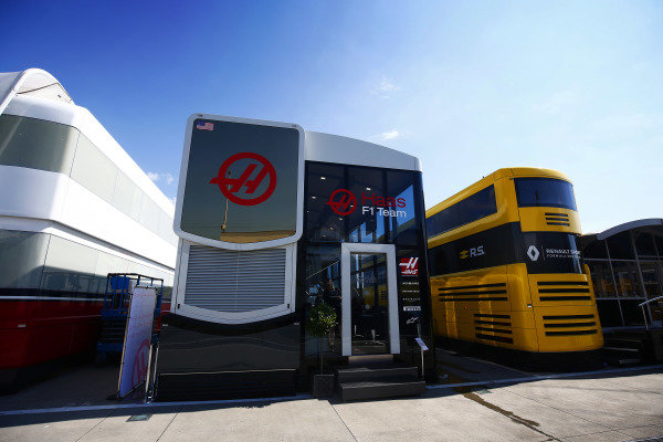 The Haas F1 and Renault hositality units in the paddock