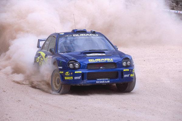 2002 World Rally ChampionshipAcropolis Rally, Greece. 13th - 16th June 2002.Tommi makinen/Kaj Lindstron, Subaru Impeza WRC, action.World Copyright: McKlein/LAT Photographicref: 35mm Image A05