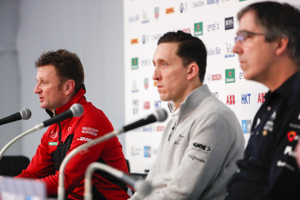Allan McNish, Team Principal, Audi Sport Abt Schaeffler in the press conference with James Barclay, Team Director, Panasonic Jaguar Racing and Mark Preston, Team Principal, DS TECHEETAH