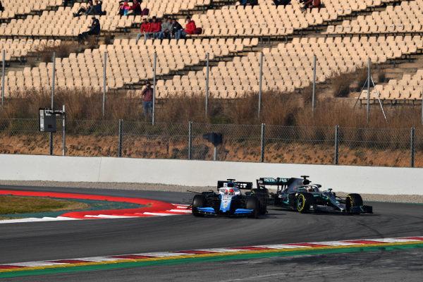 Robert Kubica, Williams FW42 and Lewis Hamilton, Mercedes-AMG F1 W10 EQ Power+