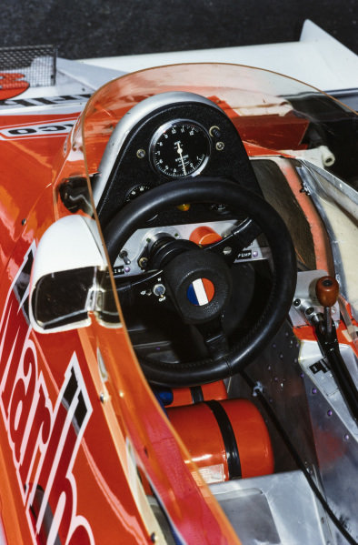 The cockpit of Patrick Tambay's McLaren M26 Ford.