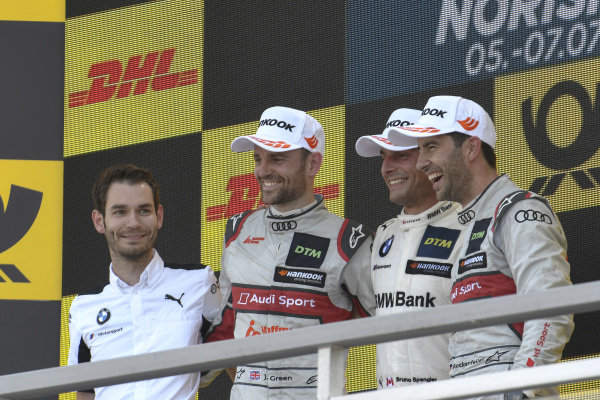 Podium, Bruno Spengler, BMW Team RMG, Mike Rockenfeller, Audi Sport Team Phoenix, Jamie Green, Audi Sport Team Rosberg.