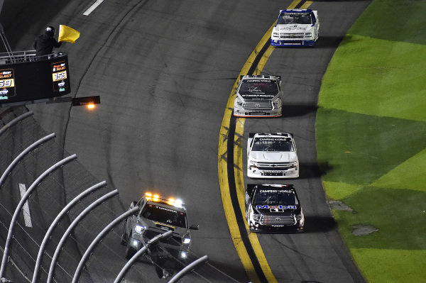 #4: John Hunter Nemechek, Kyle Busch Motorsports, Toyota Tundra Mobil 1 takes the caution f;ag.