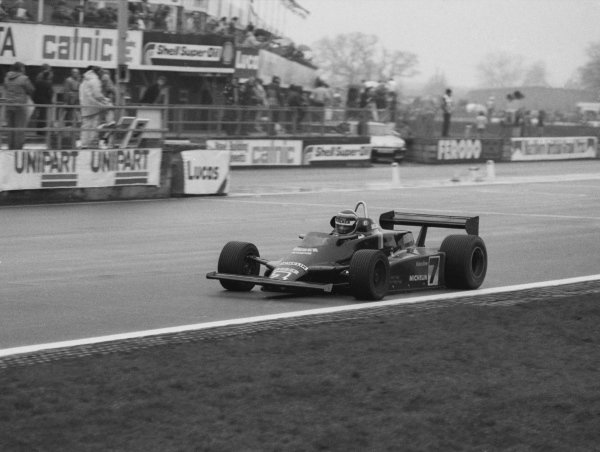 Stefan Bellof (GER), Maurer MM82-BMW, won the race. Formula Two Championship, Rd1, Marlboro/Daily Express International Trophy, Silverstone, England. 21 March 1982.