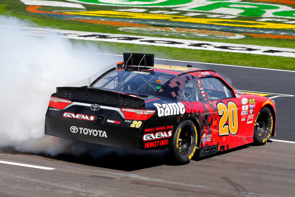2017 NASCAR Xfinity Series My Bariatric Solutions 300 Texas Motor Speedway, Fort Worth, TX USA Saturday 8 April 2017 Erik Jones, Game Stop/ GAEMS Toyota Camry celebrates his win with a burnout World Copyright: Russell LaBounty/LAT Images ref: Digital Image 17TEX1rl_2539