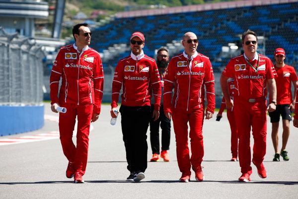 Sochi Autodrom, Sochi, Russia. Thursday 27 April 2017. Sebastian Vettel, Ferrari, conducts a track walk with colleagues, including Jock Clear, Engineering Director, Ferrari.  World Copyright: Andy Hone/LAT Images ref: Digital Image _ONY8671
