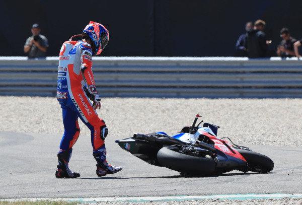 Danilo Petrucci, Pramac Racing after the crash.