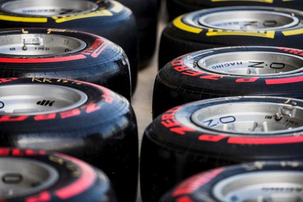 2017 FIA Formula 2 Round 11. Yas Marina Circuit, Abu Dhabi, United Arab Emirates. Friday 24 November 2017. Pirelli tyres. Photo: Zak Mauger/FIA Formula 2. ref: Digital Image _56I9088