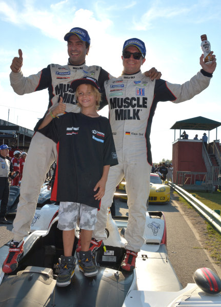 3-5 October, 2013, Alton, Virginia USA #6  Muscle Milk Pickett Racing's Lucas Luhr and son with Klaus Graf after winning overall and P1. ©2013, Dan R Boyd LAT Photo USA