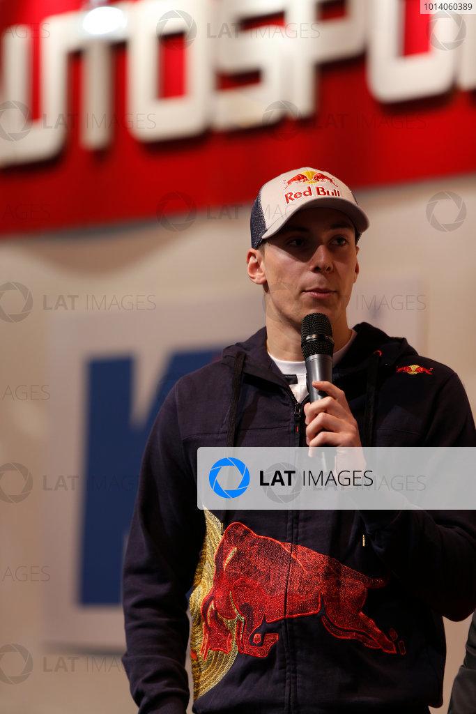 Autosport International Show NEC, Birmingham.  Sunday 12 January 2014. Jordan King on the stage. World Copyright:Sam Bloxham/LAT Photographic ref: Digital Image _SBL2945