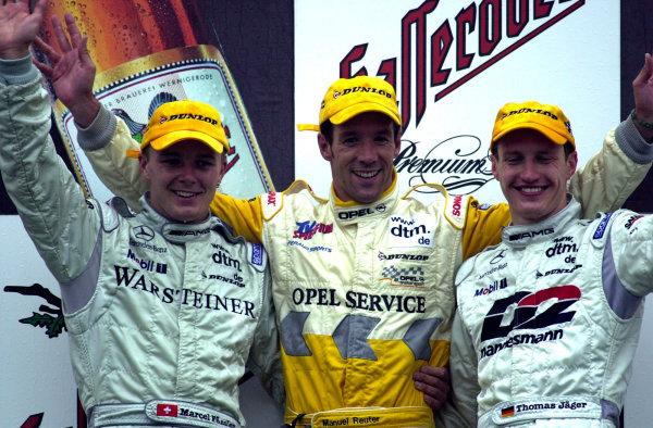 Nurgurgring, Germany. 08th October 2000.Round 8/9.Marcel Fassler, Manuel Reuter and Thomas Jager - podium.World Copyright: Hardwick / LAT Photographic