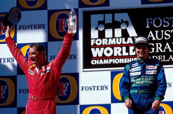 Second place Nigel Mansell(L) celebrates with winner Nelson Piquet Australian GP - Adelaide, Australia, 4 November 1990