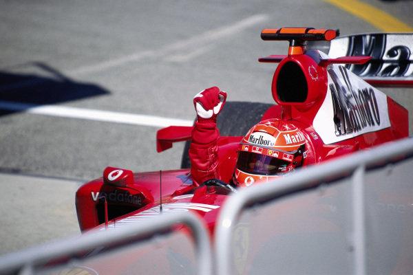 Michael Schumacher, Ferrari F2004, celebrates victory.