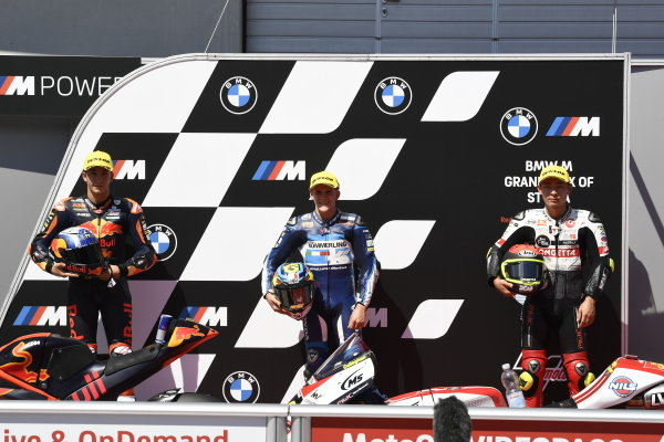 Top3 after Qualifying: Raul Fernandez, Red Bull KTM Ajo, Gabriel Rodrigo, Gresini Racing, Tatsuki Suzuki, SIC58 Squadra Corse.