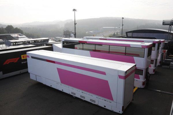 Force India trucks in the paddock.