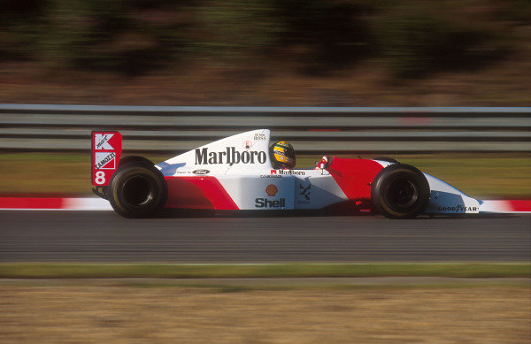 1993 Belgian Grand Prix.Spa-Francorchamps, Belgium.27-29 August 1993.Ayrton Senna (McLaren MP4/8 Ford) 4th position.Ref-93 BEL 03.World Copyright - LAT Photographic
