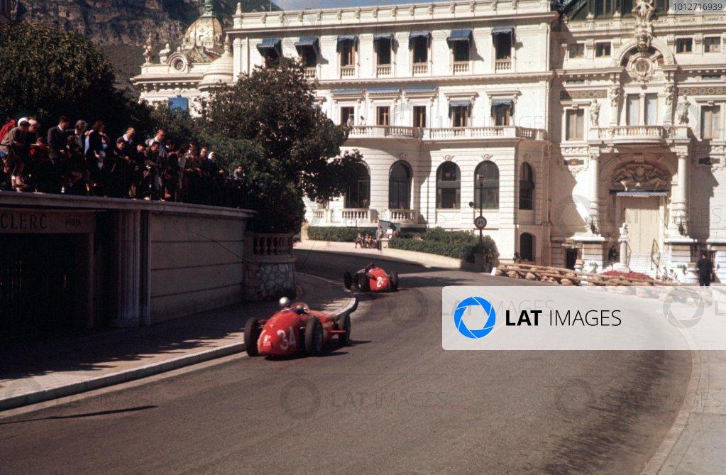 1957 Monaco Grand Prix.Monte Carlo, Monaco.16-19 May 1957.Masten Gregory leads Giorgio Scarlatti (both Maserati 250F). Gregory finished in 3rd position.Ref-57 MON 20.World Copyright - LAT Photographic