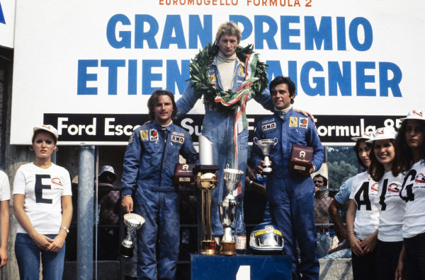 Jean-Pierre Jabouille, 1st position, René Arnoux, 2nd position, and Patrick Tambay, 3rd position, on the podium.