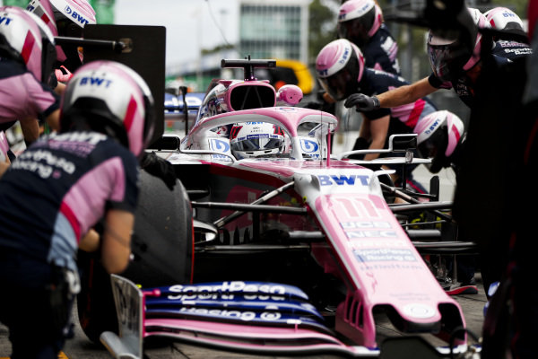 Sergio Perez, Racing Point RP19, makes a pit stop during practice