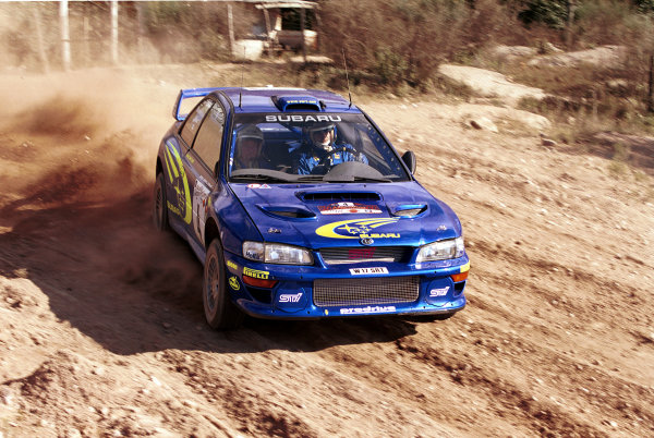 Juha Kankkunen in action in the Subaru Impreza 2000 WRC.Argentina Rally 2000.Photo:McKlein/LAT