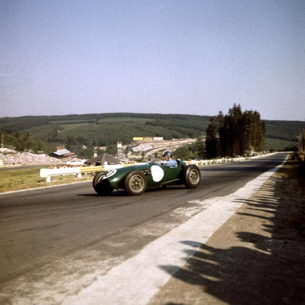 1958 Belgian Grand Prix. Spa-Francorchamps, Belgium. 13-15 June 1958. Cliff Allison (Lotus 12 Climax), 4th position. Ref-3/0050. World Copyright - LAT Photographic
