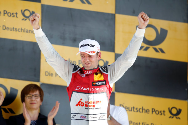 2017 DTM Round 2 Lausitzring, Germany. Sunday 21 May 2017. Podium: Race winner Jamie Green, Audi Sport Team Rosberg, Audi RS 5 DTM World Copyright: Alexander Trienitz/LAT Images ref: Digital Image 2017-DTM-R2-ESL-AT1-4664