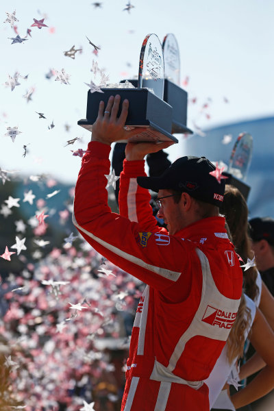 2017 Verizon IndyCar Series Toyota Grand Prix of Long Beach Streets of Long Beach, CA USA Sunday 9 April 2017 Sebastien Bourdais celebrates on the podium World Copyright: Phillip Abbott/LAT Images ref: Digital Image lat_abbott_lbgp_0417_15039