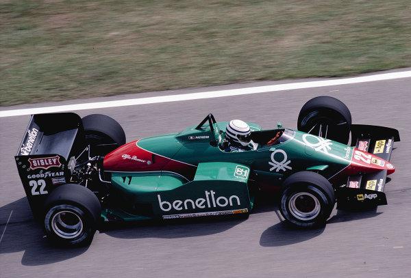 1985 Brazilian Grand Prix.Jacarepagua, Rio de Janeiro, Brazil.5-7 April 1985.Riccardo Patrese (Alfa Romeo 185T).Ref-85 BRA 37.World Copyright - LAT Photographic